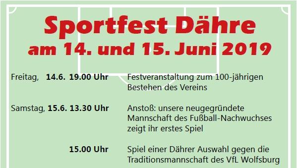 100. Geburtstag des Sportvereins Schwarz Weiß Dähre