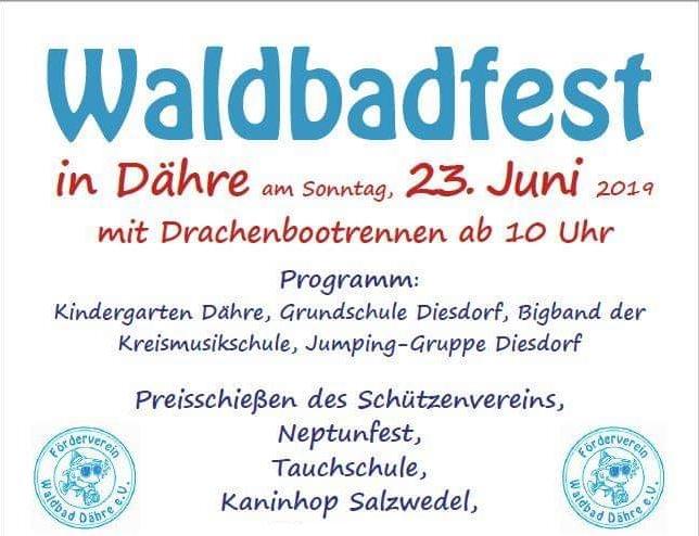 Waldbadfest in Dähre am 23. Juni ab 10 Uhr